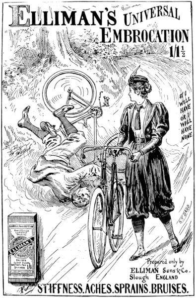 Radfahrerin trägt Bloomer-Hose in der Öffentlichkeit. Revolutionäres Werbeplakat aus dem Jahr 1897.